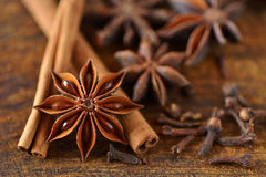 Star anise and cinnamon sticks. Star anise with cinnamon sticks and cover Royalty Free Stock Photography