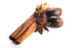 Star anise with cinnamon sticks Stock Photography