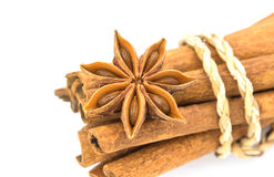 Star  anise  with  cinnamon sticks isolated  on white background Royalty Free Stock Photo