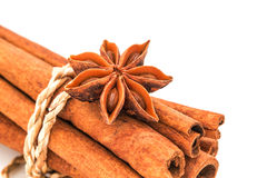 Star  anise  with  cinnamon sticks isolated  on white background Stock Photos