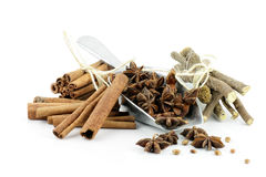 Star anise, cinnamon sticks, liquorice root. Stock Images