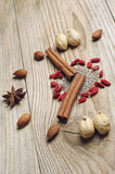 Star anise, cinnamon sticks and nuts Stock Photo
