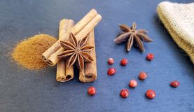 Star anise, cinnamon sticks and powder with red pepper Royalty Free Stock Images