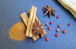 Star anise, cinnamon sticks and powder with red pepper Royalty Free Stock Photography