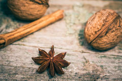 Star anise, cinnamon sticks and walnuts Royalty Free Stock Image