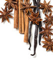 Star anise, cinnamon and vanilla pods Stock Images