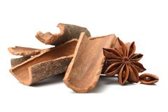 Star anise and cinnamon. On white background stock photography