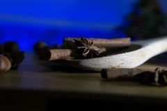 Star Anise and Cinnamon In a Wooden Spoon. Star Anise, Cinnamon and other wintery spices on a Wooden Spoon with Low Key lighting Stock Photography