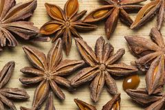 Star anise close-up. Badyan close-up on a wooden Board close-up photo royalty free stock images