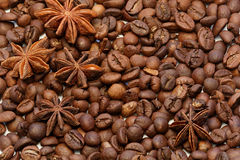 Star Anise and coffee beans macro shot Stock Photos