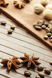 Star anise, coffee beans, nutmeg and cinnamon sticks Royalty Free Stock Photo