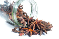 Star Anise come out from a jar Stock Photos