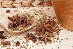 Star Anise and cumin seeds in kitchen Stock Photo