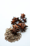Star anise and cumin spice. Shot with shallow depth of field Royalty Free Stock Photography