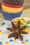 Star anise and dessert topping Stock Photo