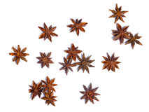 Star anise dried Ilicium fruit, top view, paths Royalty Free Stock Photography