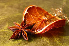 Star anise and dried orange slice Royalty Free Stock Photos