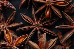Star anise fruits and seeds. Top view Stock Photo