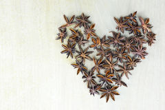 Star anise heart Royalty Free Stock Images