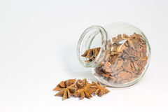 Star anise and jar isolated on white background Royalty Free Stock Images