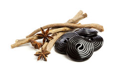 Star anise, licorice roots and wheels Royalty Free Stock Photo