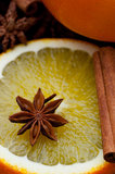 Star Anise On orange Royalty Free Stock Photos