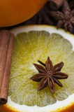 Star Anise On Orange Slice. Star anise on fresh orange slice royalty free stock photos