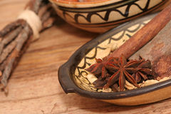 Star anise and other spices close-up Stock Photography