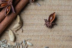 Star anise and other spices. A closeup look at star anise with some cinnamon sticks, cardamom, and fennel seeds royalty free stock images