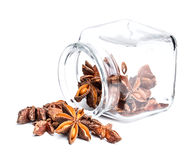 Star anise. In the overturned glass jar Royalty Free Stock Photography