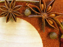 Star anise and pepper stock photo