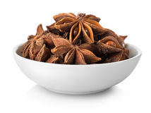Star anise in plate. On white background Stock Photography