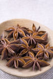 Star Anise Pods. Image of some Star Anise fruit and seeds on a wooden spoon Stock Image