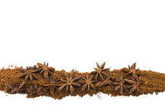 Star Anise in Row on Isolated White Stock Photo
