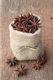 Star anise in sackcloth bag Stock Photography