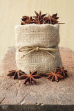 Star anise in sackcloth bag Stock Images