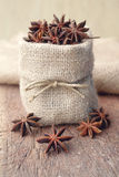 Star anise in sackcloth bag Royalty Free Stock Photos