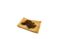Star anise on sacks Stock Photos