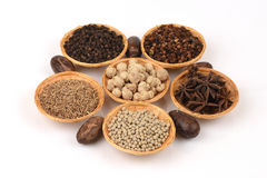 Star Anise, Siam Cardamom, Best Cardamom, Clustered Cardamom, Camphor Seed ,. Cumin seeds, White pepper, Black pepper, Sichuan Pep Royalty Free Stock Photography