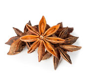 Star anise spice fruits and seeds isolated on white Royalty Free Stock Photo
