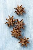 Star anise, spice fruits and seeds on wooden background. Food background. Top view Royalty Free Stock Images