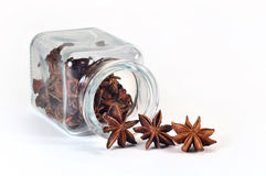 Star anise in spice jar. Star anise in a jar for spices on a white background Royalty Free Stock Photo