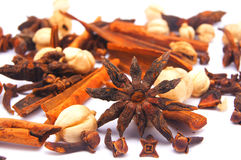 Star anise and spices. On white background Royalty Free Stock Photography