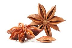 Star anise. On the white background stock image