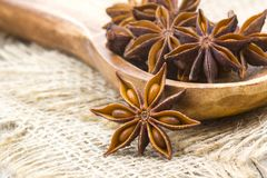 Star anise. On wooden background royalty free stock photos