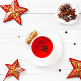 Star anise tea with spices in Christmas time Stock Photography