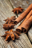 Star anise was placed on top of the wooden Stock Image