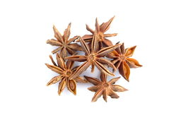 Star anise. On a white background, extreme closeup stock photo