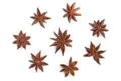 Star anise on white background. Top view. Flat lay pattern.  royalty free stock image