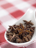 Star anise on white and red tablecloth. Selective focus Royalty Free Stock Image